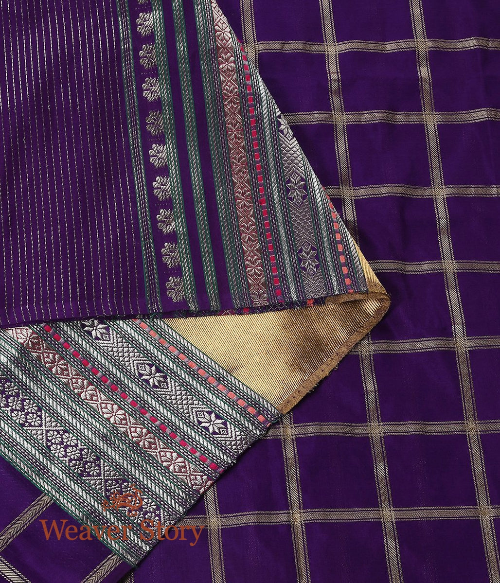 Handwoven Purple Banarasi Dupatta with Checks and Zari Pallu