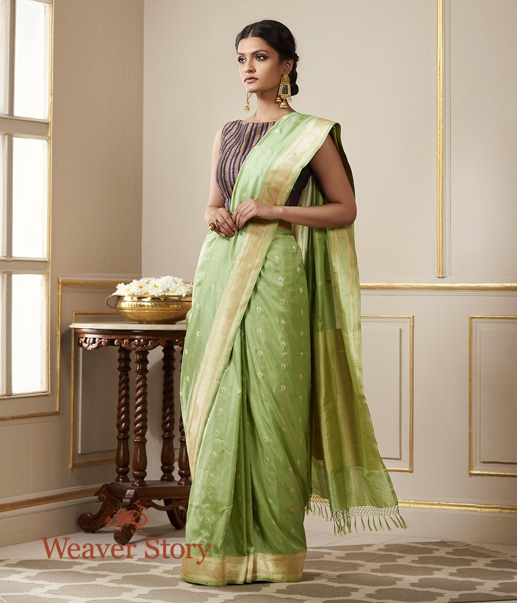 Handwoven Green Kadhwa Boota Saree with Blue Meenakari
