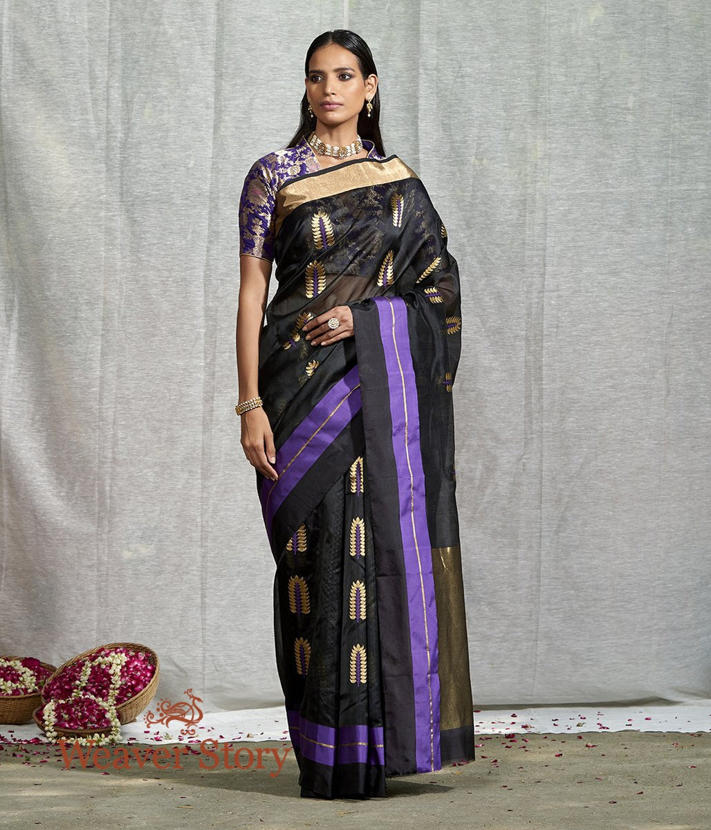 Handwoven Black Chanderi Saree With Purple and Gold Leaf Motif