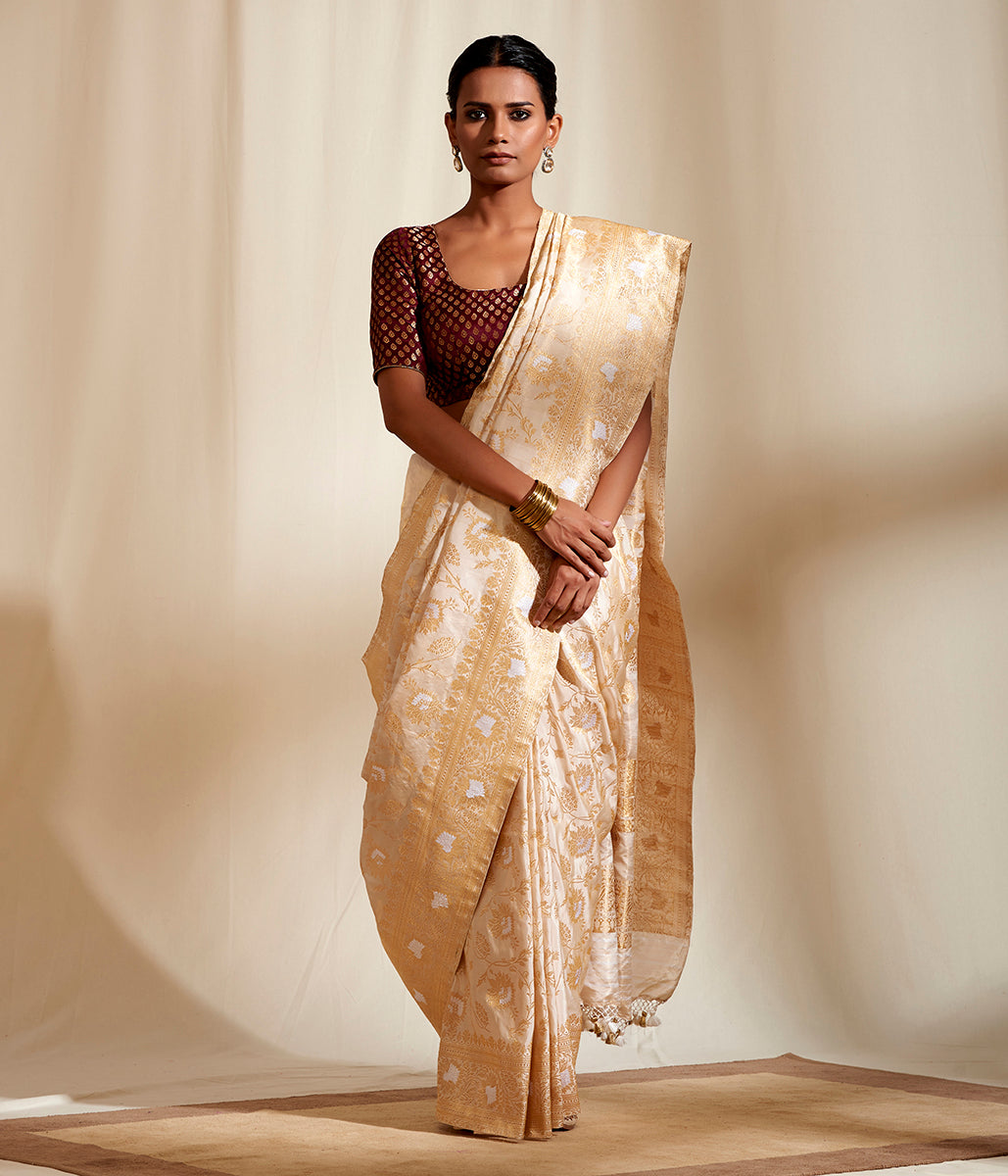 Offwhite and Gold Tissue Silk Jangla With Sona Rupa Zari