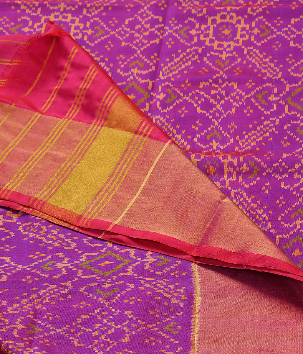 Handwoven Purple and Pink Patola Dupatta