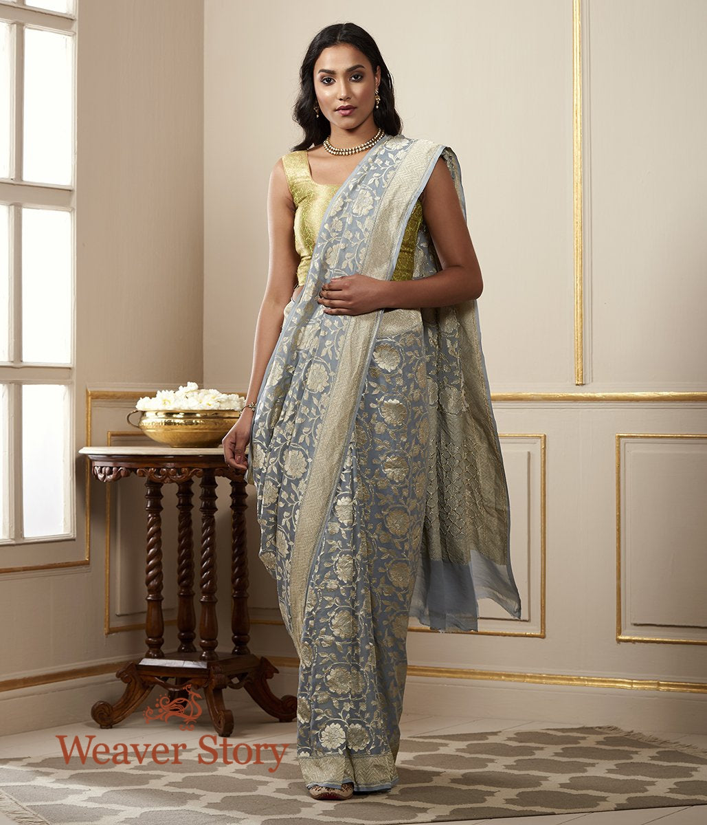 Handwoven Grey Cutwork Jaal Banarasi Georgette Saree