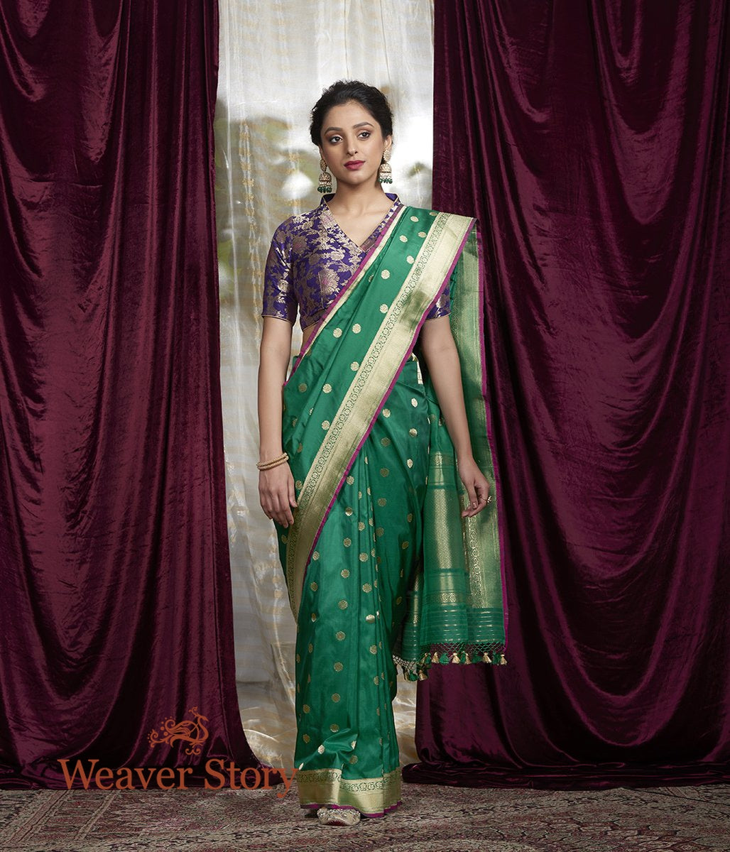 Handwoven Green Asharfi Boota saree