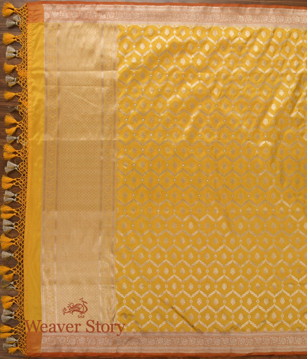 Handwoven Yellow Cutwork Jangla Dupatta