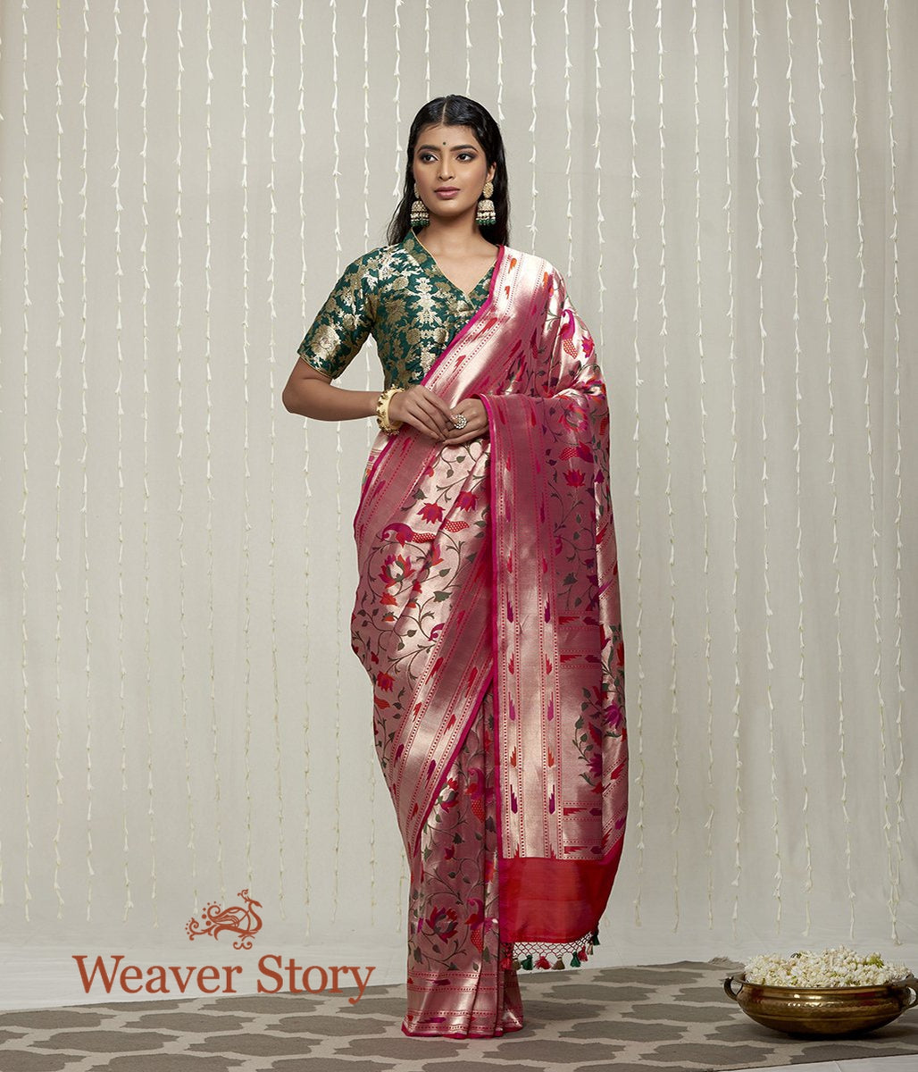 Handwoven Pink Banaarasi Saree with Zari Base and Meenakari