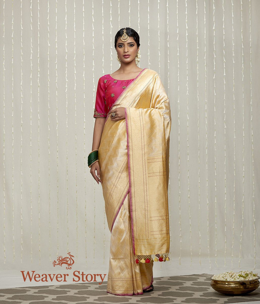 Handwoven Yellow and Gold Zari Tanchoi Saree with Pink Selvedge