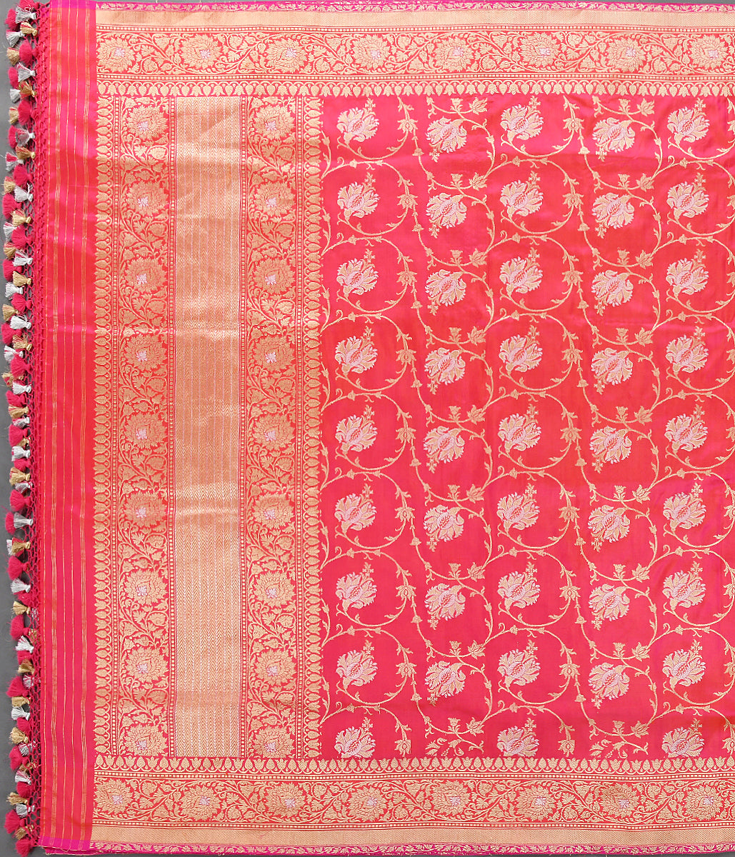 Handwoven Pink and Orange Dual Tone Kadhwa Jangla Dupatta