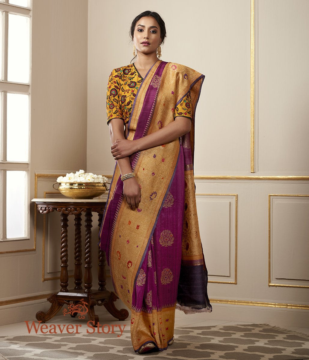 Handwoven Purple Tusser Georgette Saree with Meenakari Booti