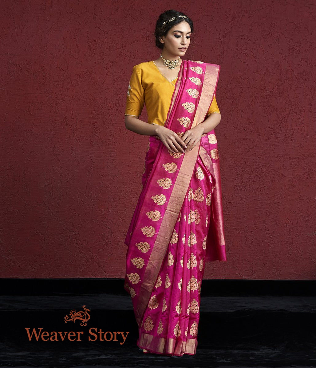 Handwoven Pink Silk Chanderi Saree with Farheen Boota
