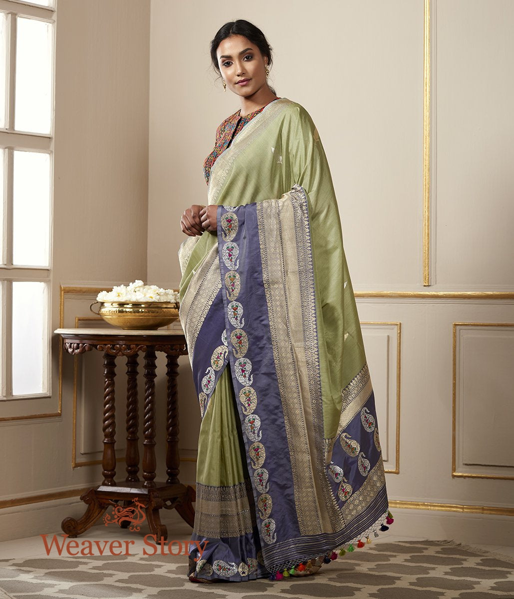 Handwoven Pista Green Tusser Saree with Blue Grey Border