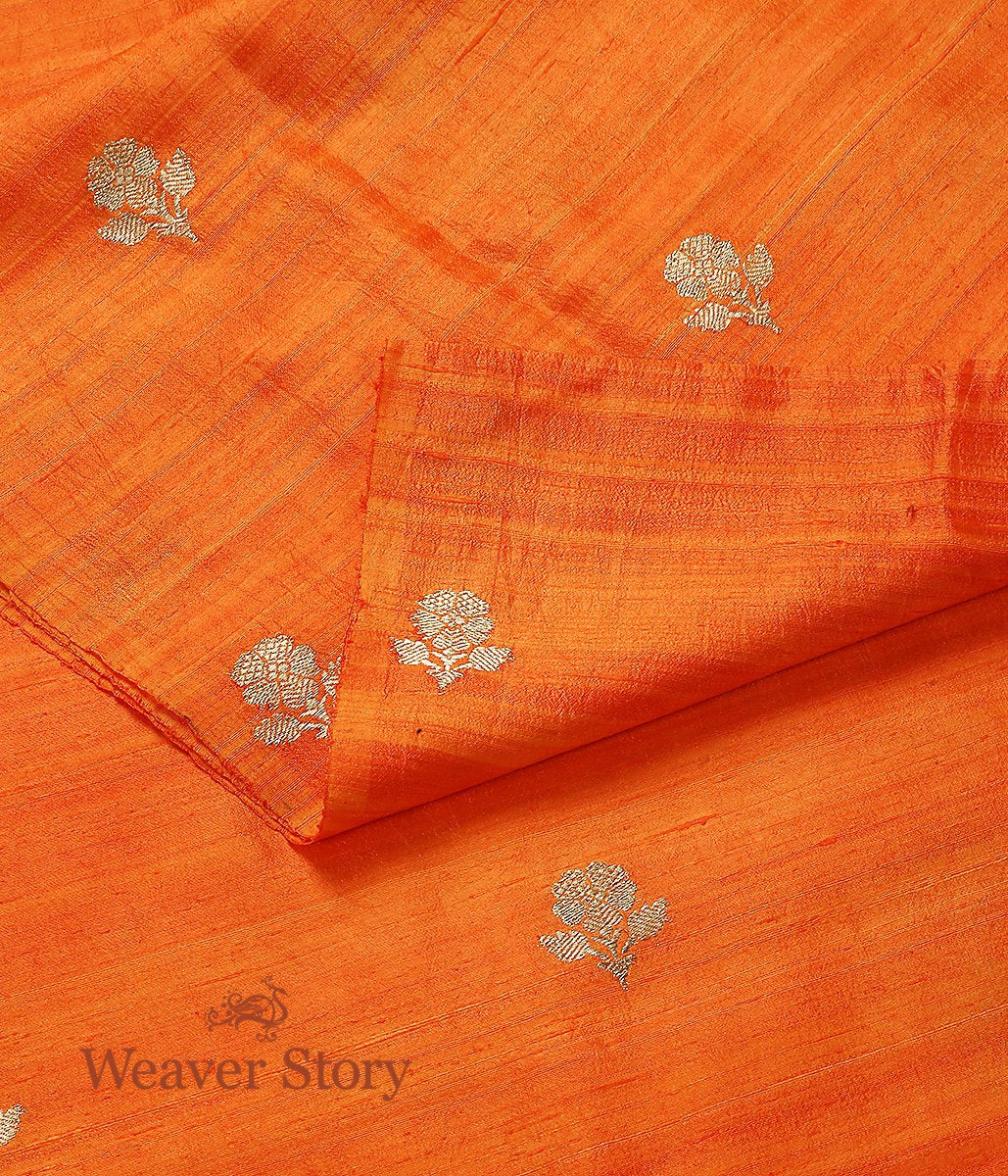 Handwoven Orange Tusser Kadhwa Booti Fabric