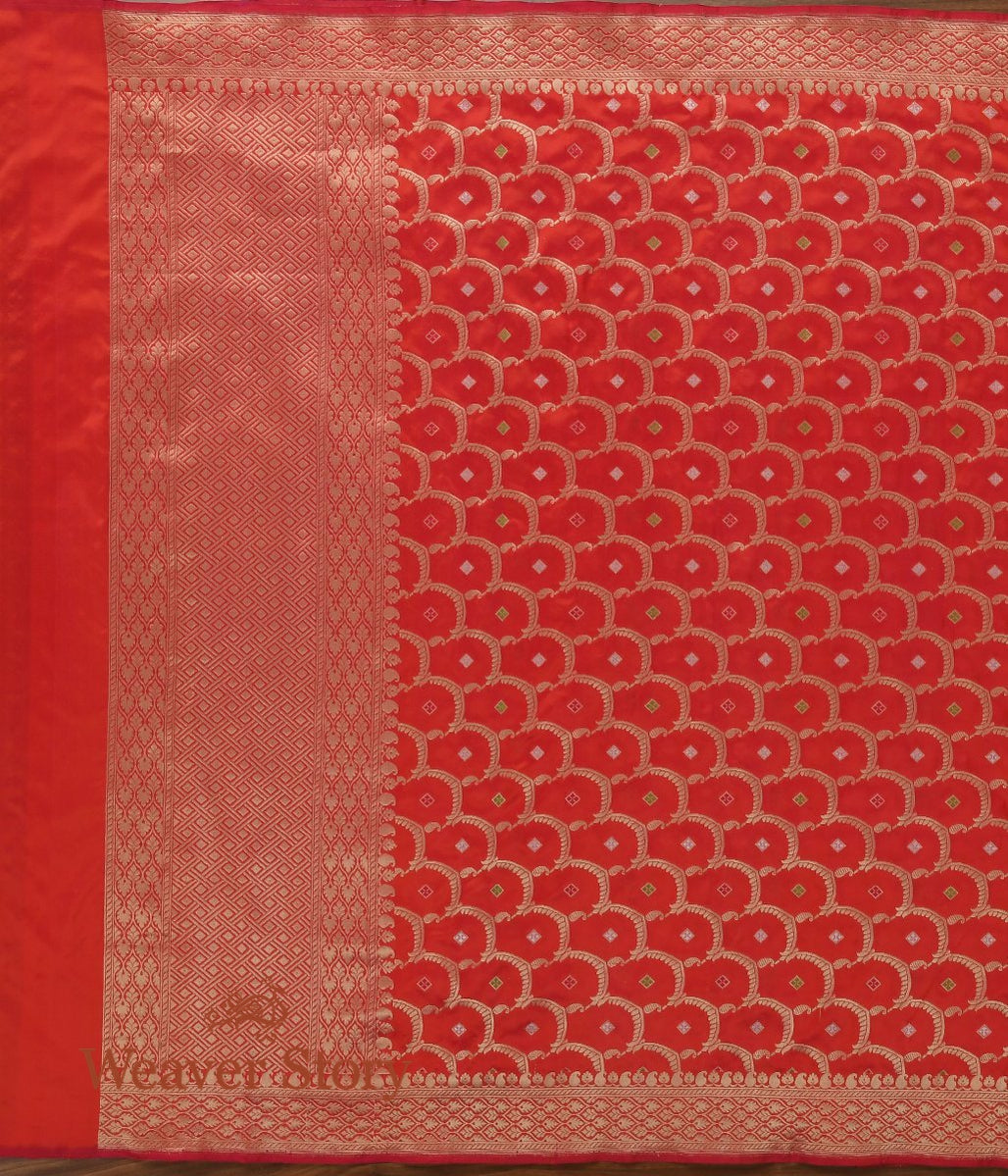 Handwoven Red Cutwork Jangla Dupatta
