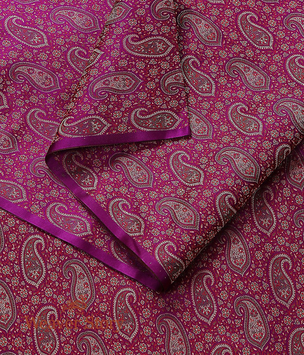 Handwoven Wine 3 Color Jamawar Fabric