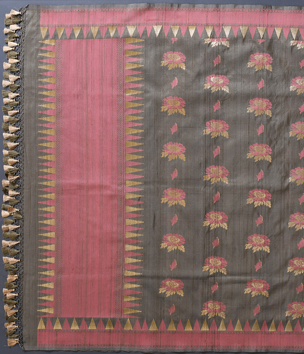 Handwoven Brown Tusser Silk Dupatta with Meenakari