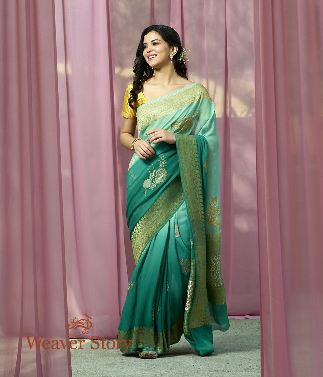Handwoven Ombre Dyed Green Banarasi Georgette Saree