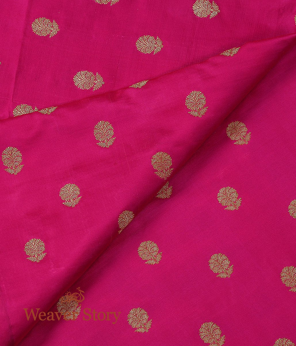 Handwoven Pink Pure Satin Fabric with Pure Gold Coated Zari