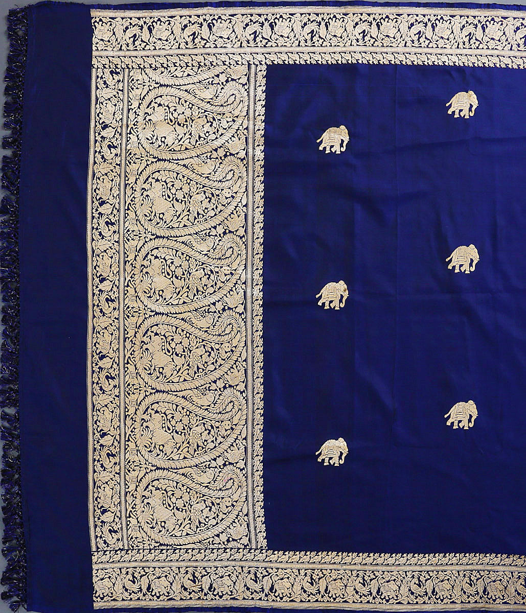 Handwoven Navy Blue Shikargah Border Dupatta with Elephant Motifs