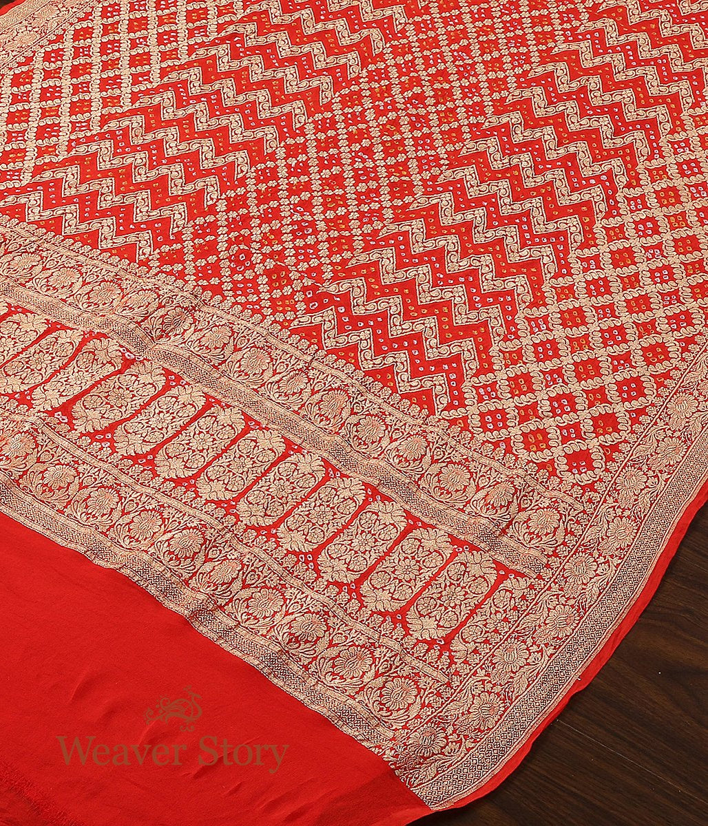 Handwoven Banarasi Bandhani Georgette Dupatta in Orange