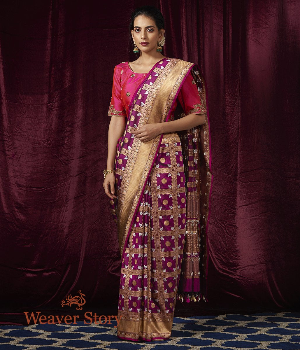 Handwoven Wine Katan Silk Saree with Zari Checks and Paisleys