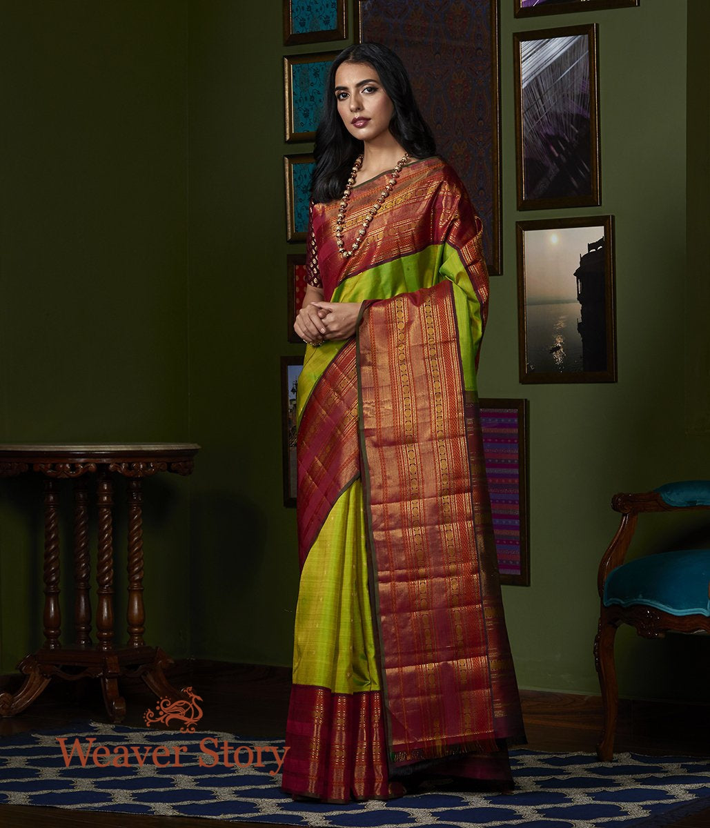 Handwoven Green Kanjivaram Silk Saree with Wine Border
