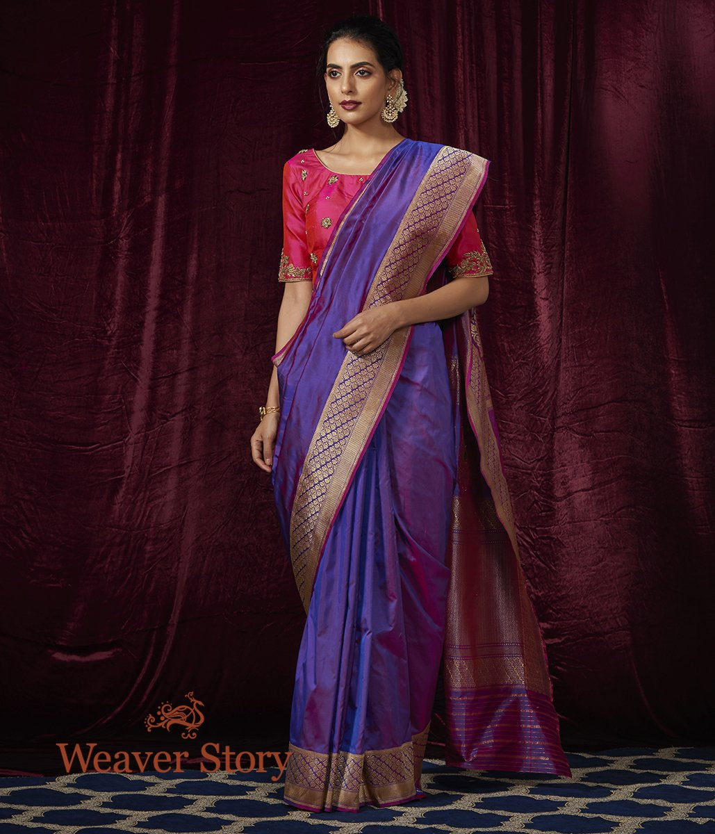 Handwoven Purple Katan Silk Banarasi Saree with Meenakari Pallu