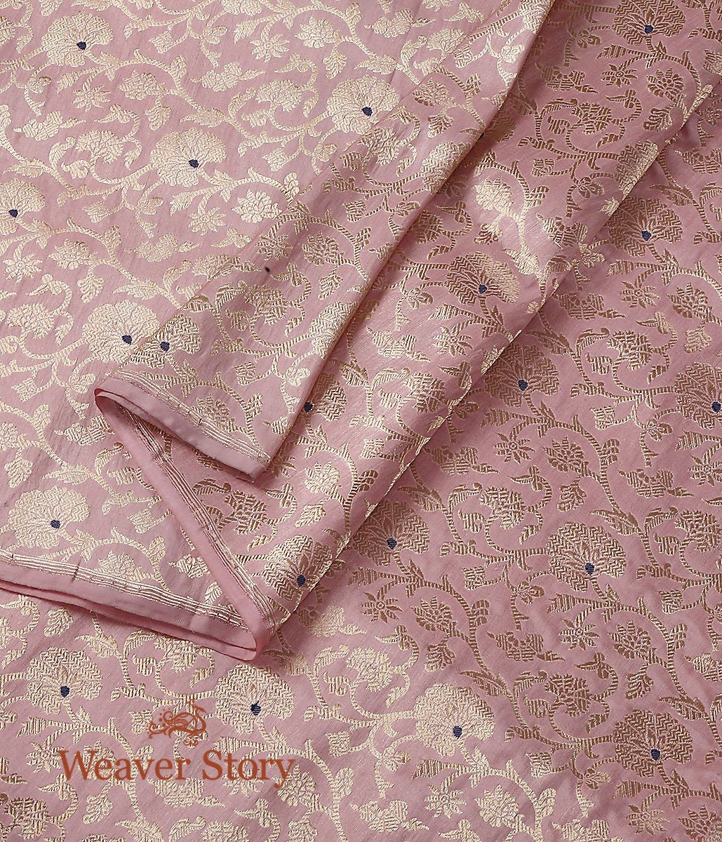 Handwoven Light Pink Kimkhab Jangla Fabric