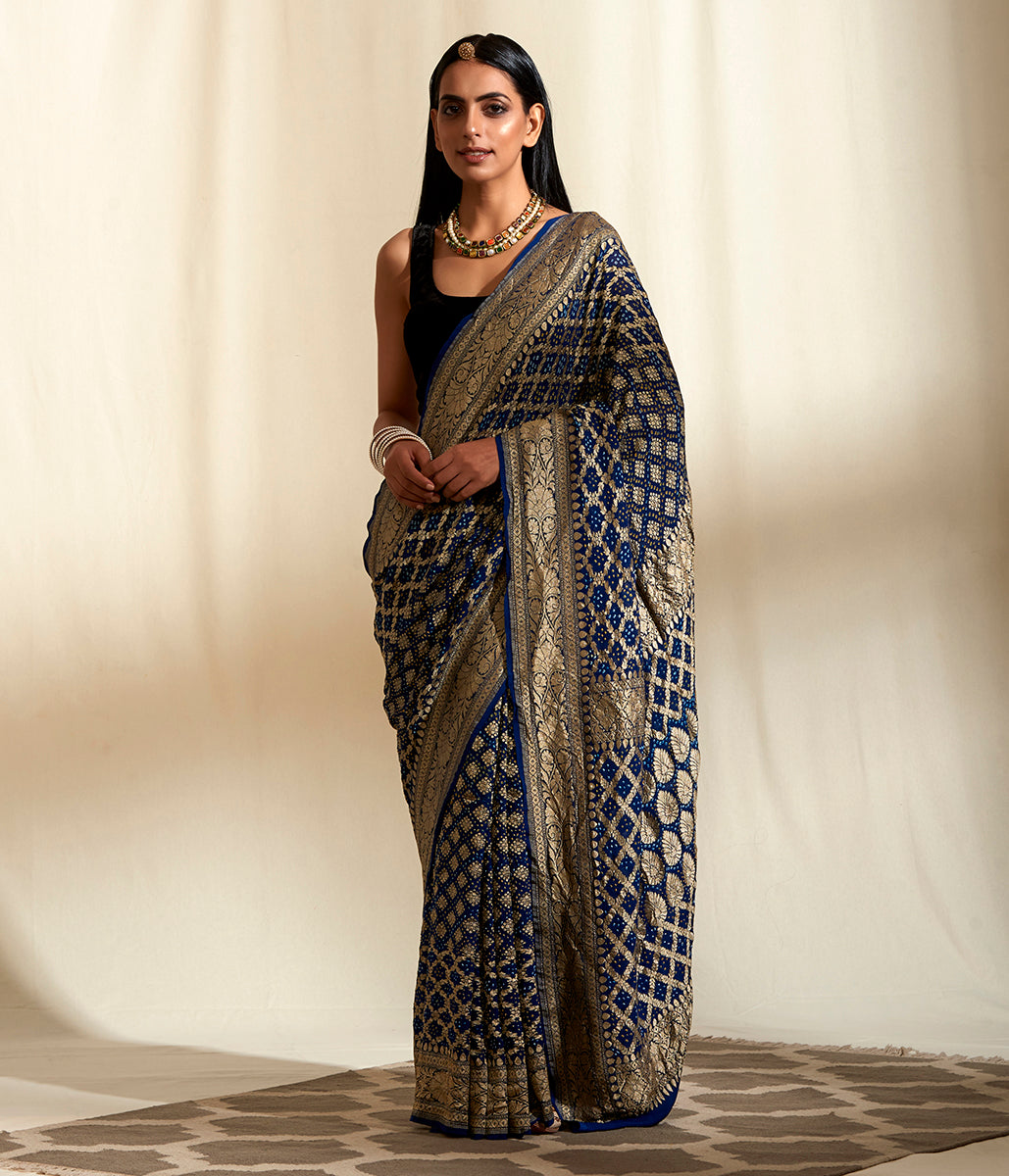Handwoven Banarasi Bandhej Saree in Navy Blue