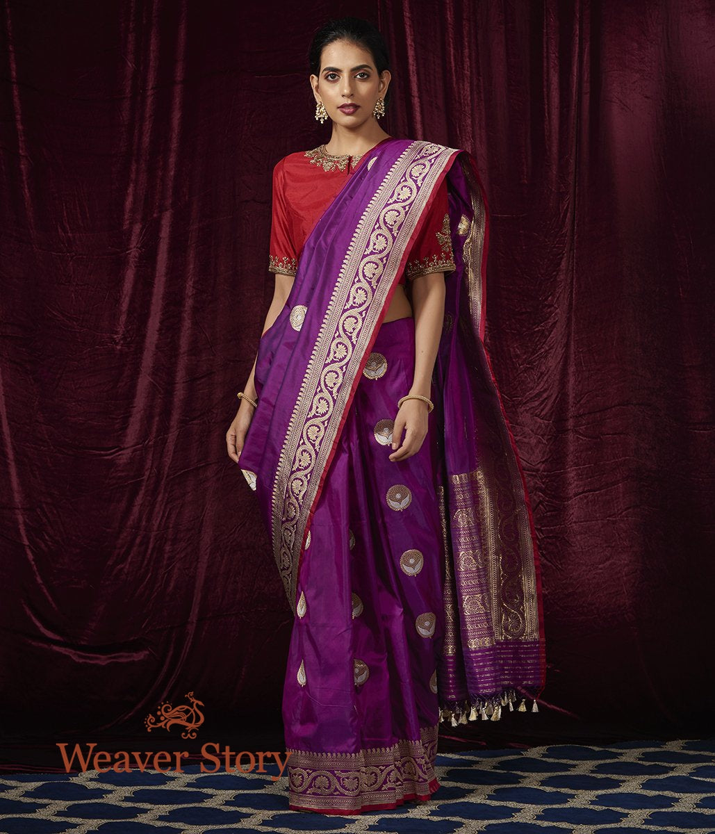 Handwoven Purple Kadhwa Boota Saree with Beldaar Border