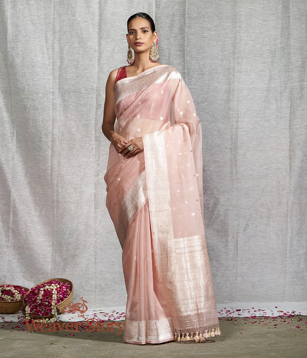 Handwoven Light Pink Kora Silk Banarasi Saree
