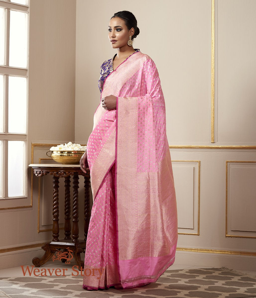 Handwoven Pink Banarasi Jangla with all over Booti Woven in Silver Zari