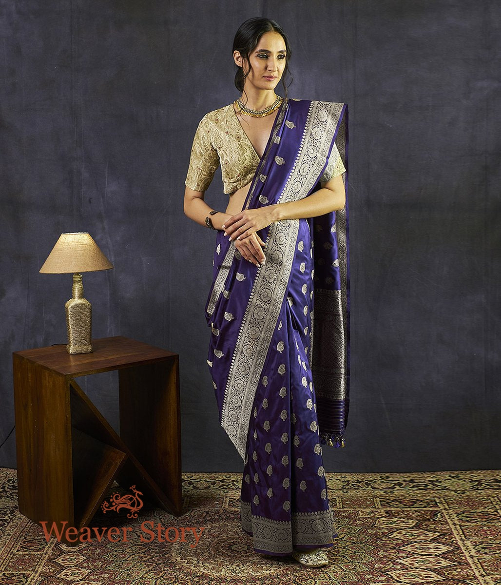 Handwoven Dark Purple Kairi Boota Saree