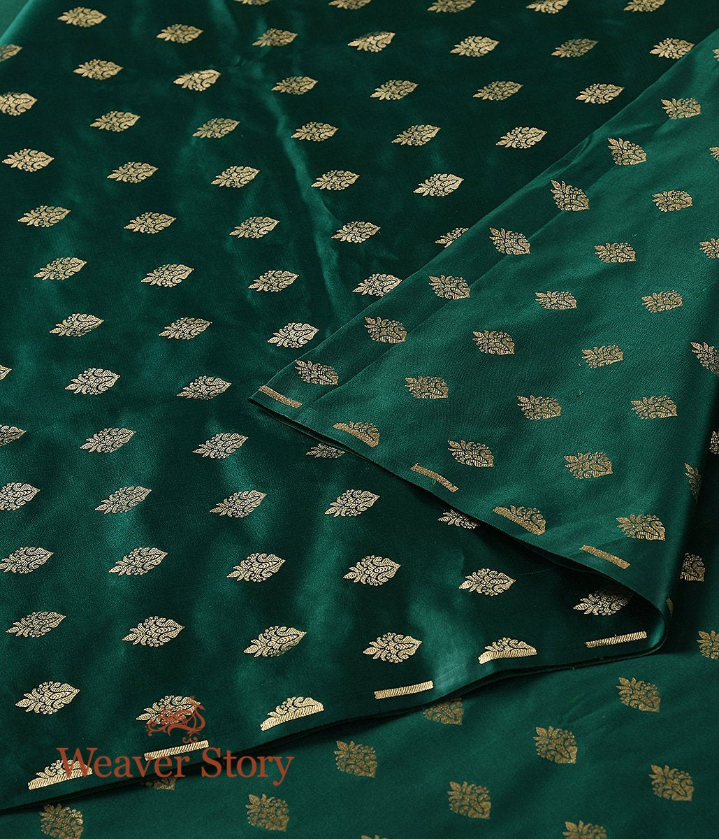 Handwoven Dark Green Cutwork Booti Satin Fabric
