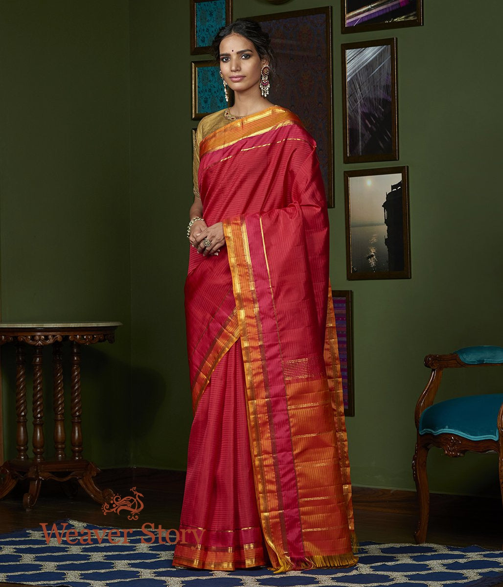 Handwoven Red and Pink Dual Tone Kanjivaram Silk Saree