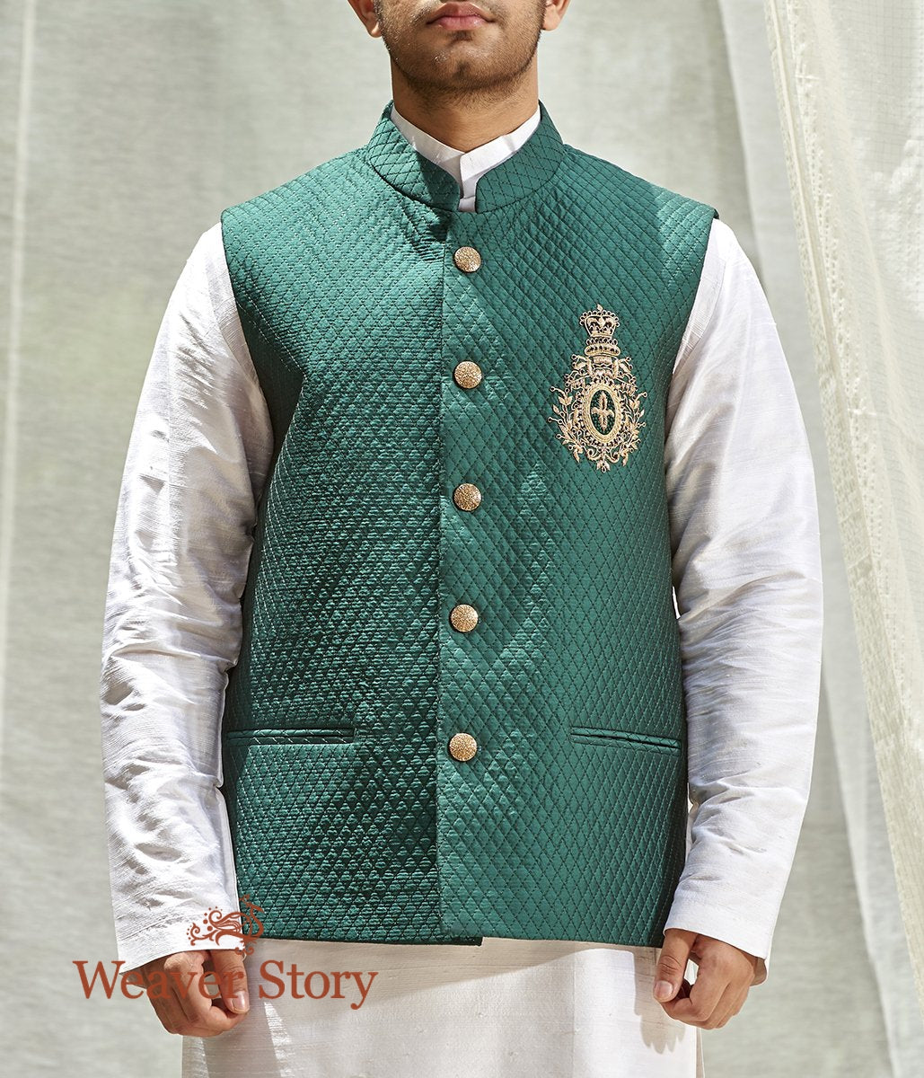 Green Raw Silk Men's Jacket with Hand Embroidered British Emblem