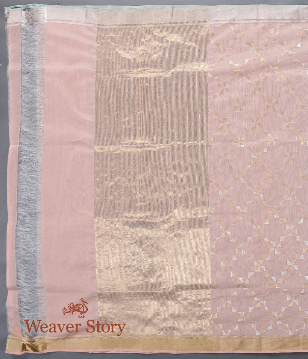 Handwoven Peach Cotton Silk Chanderi Dupatta with Gold and Silver Zari Jaal