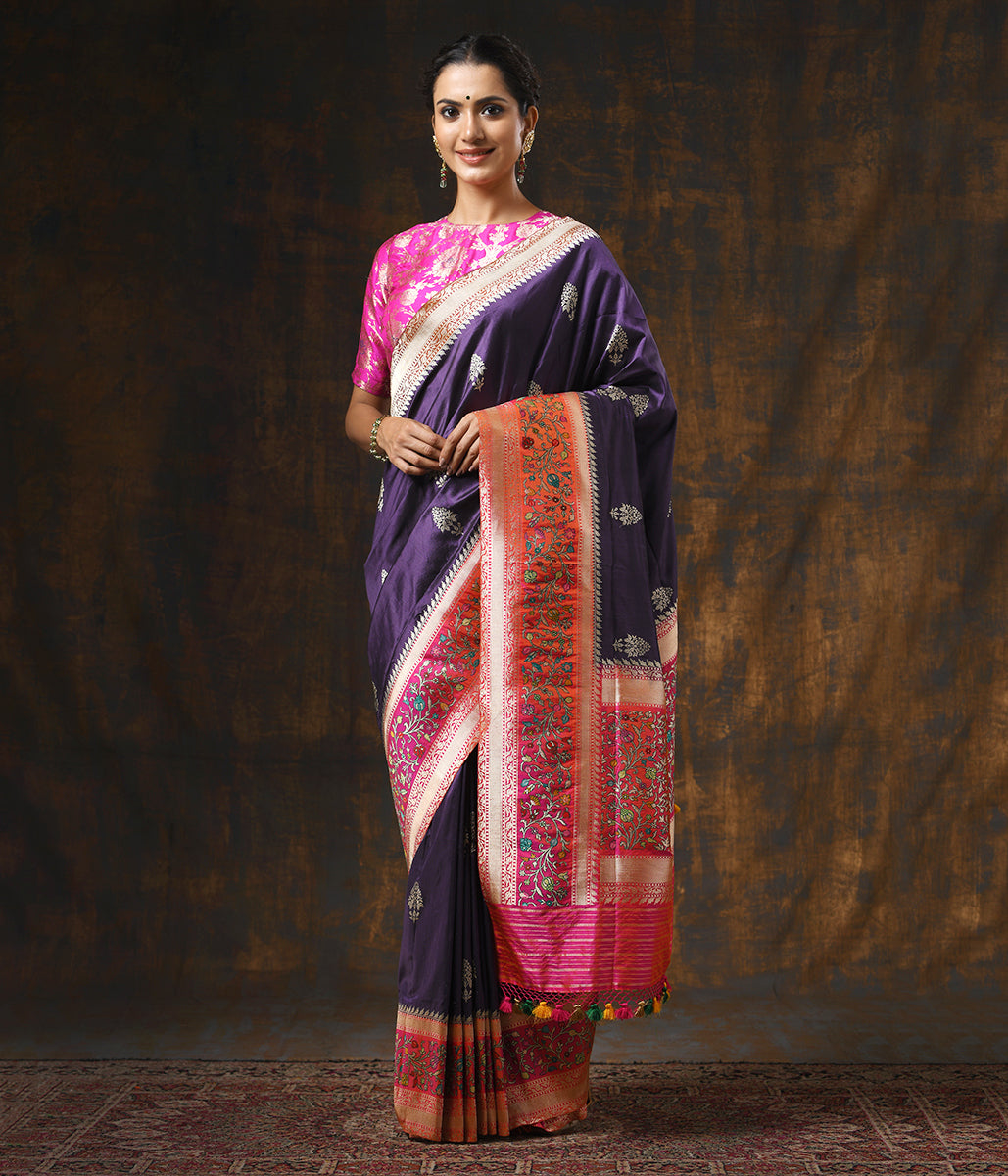 Handwoven Wine Katan Silk Saree with a Contrast Border in Peach