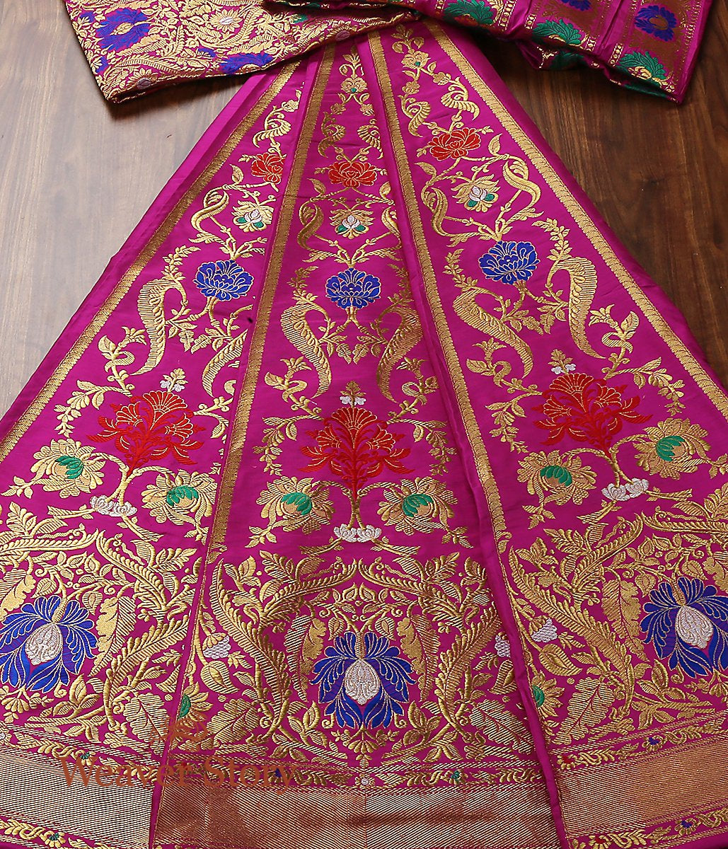 Handwoven Kadhwa Banarasi Lehenga in Purple with Meenakari