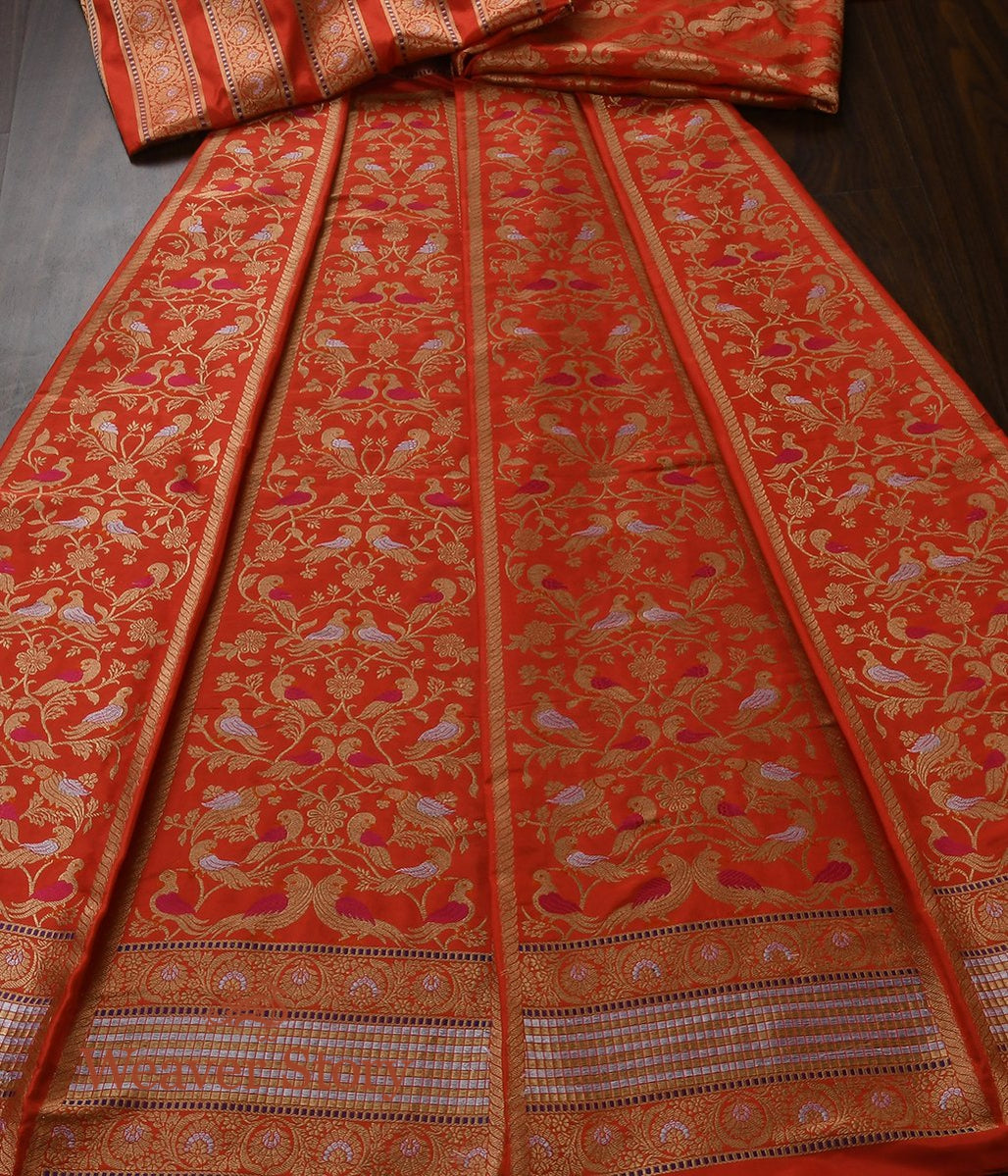 Handwoven Orange Meenakari Lehenga with Birds
