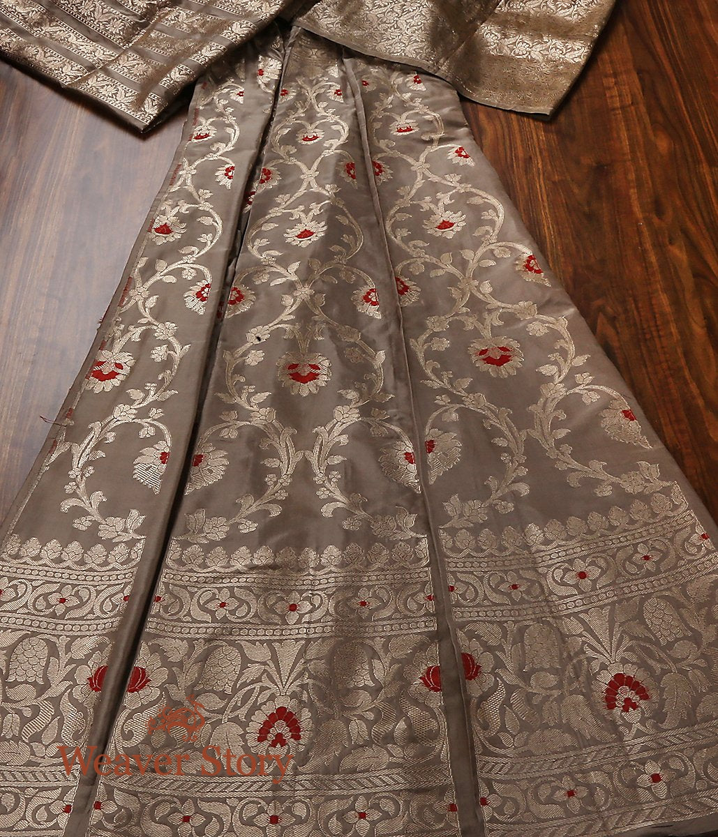 Handwoven Grey Banarasi Lehenga with Meenakari
