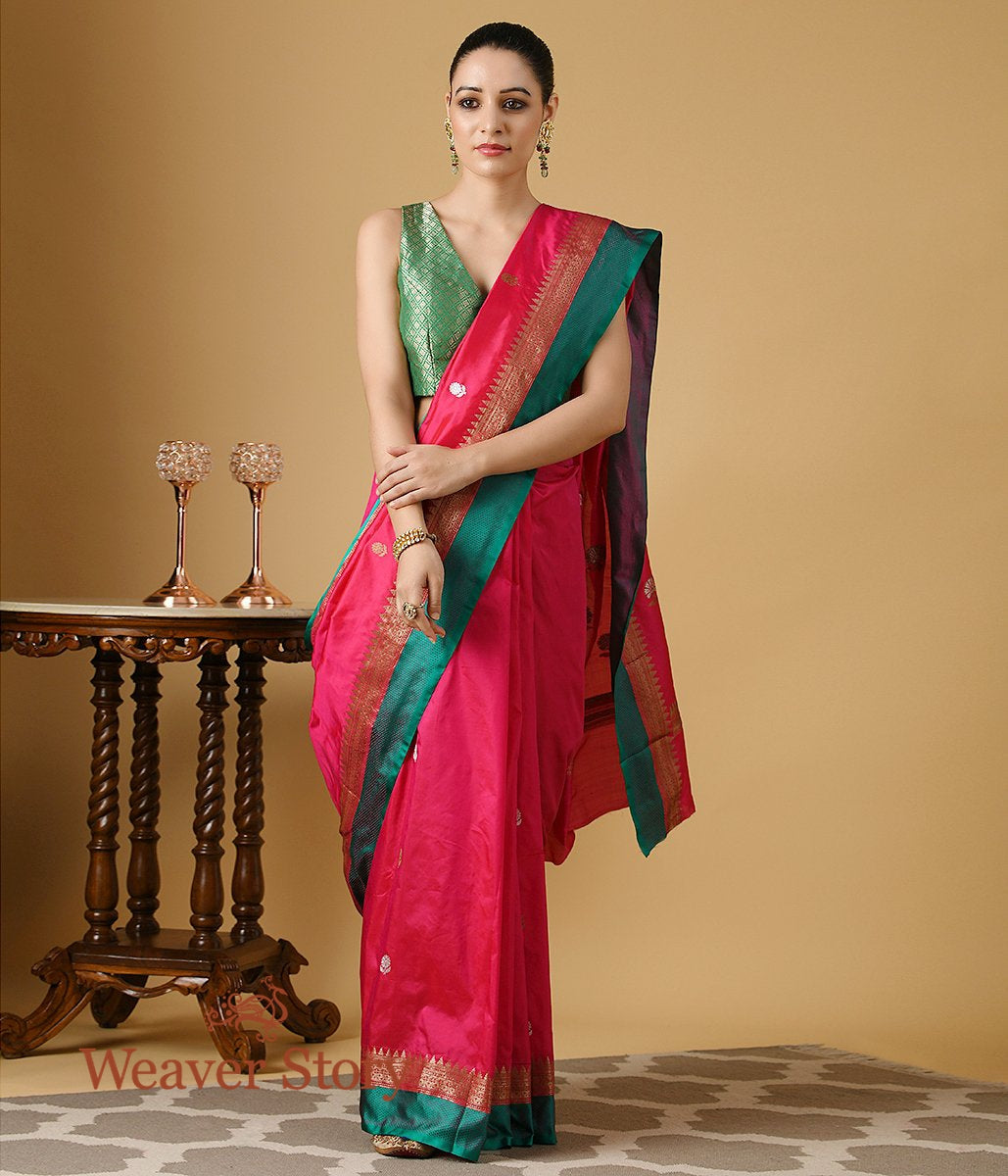Handwoven Pink Kadhwa Floral Boota  with Saree with Green Border