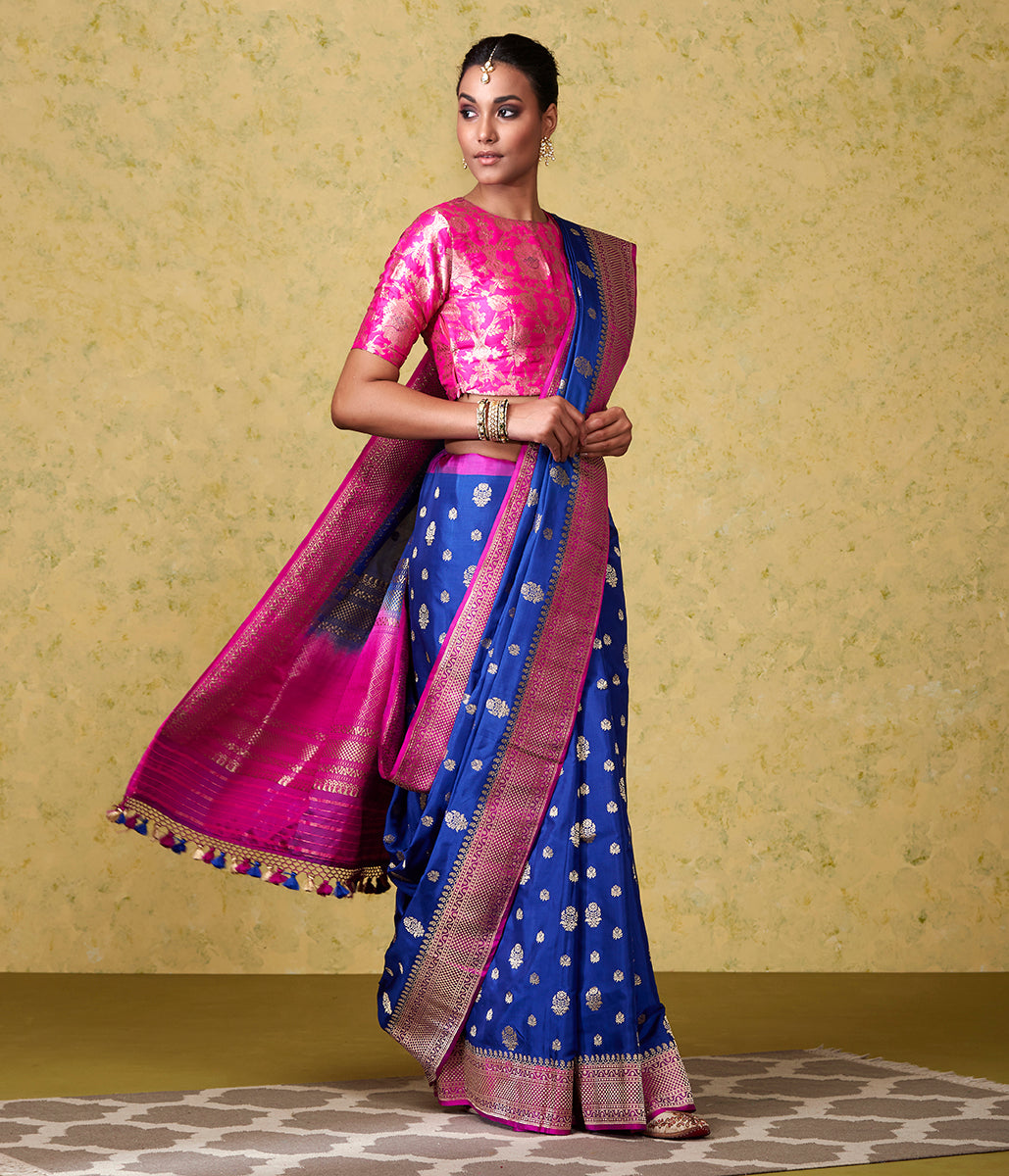 Handwoven Blue Ektara Silk Saree with all over Booti and Contrast Border