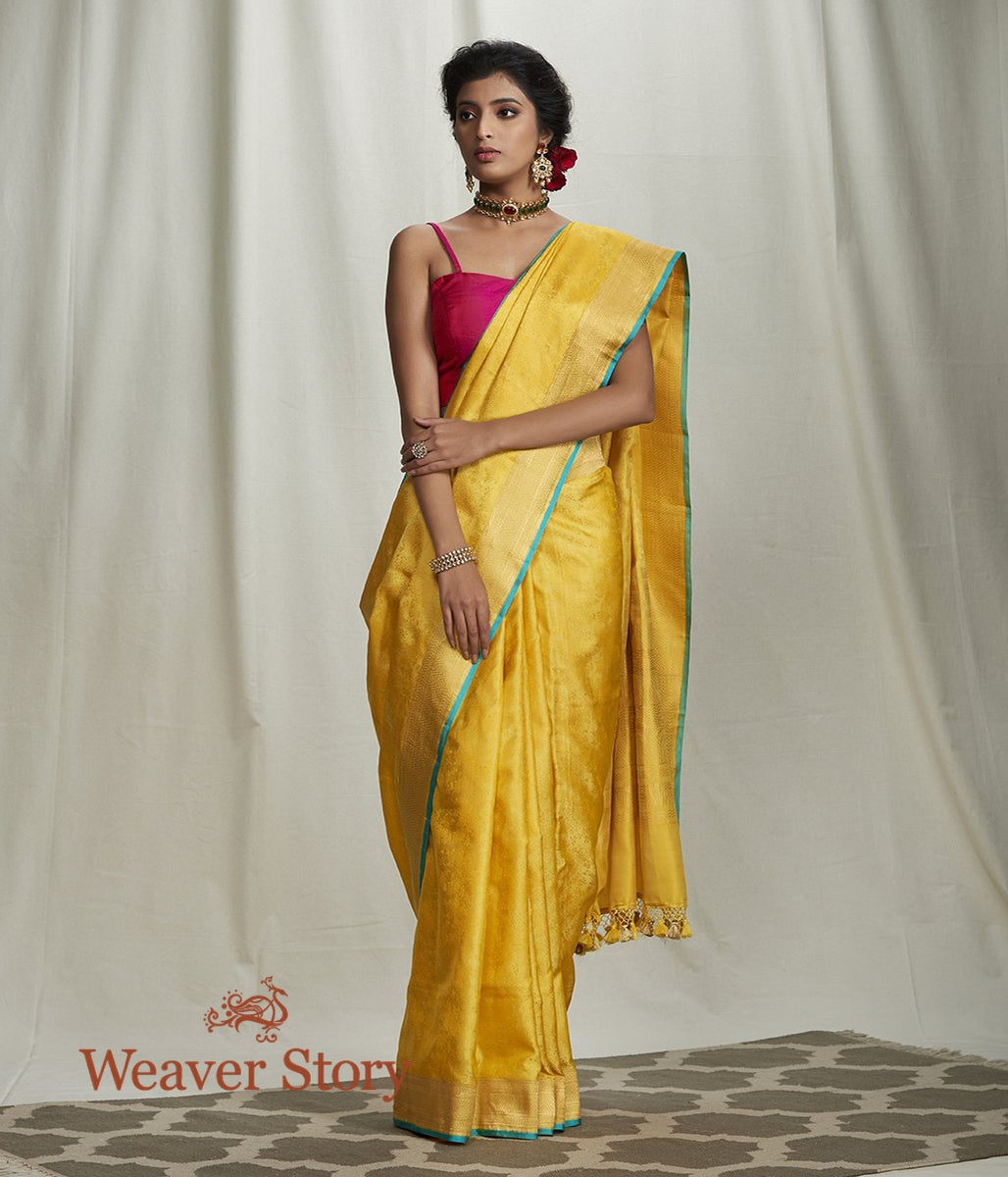 Handwoven Yellow Tanchoi Saree with Gold Border