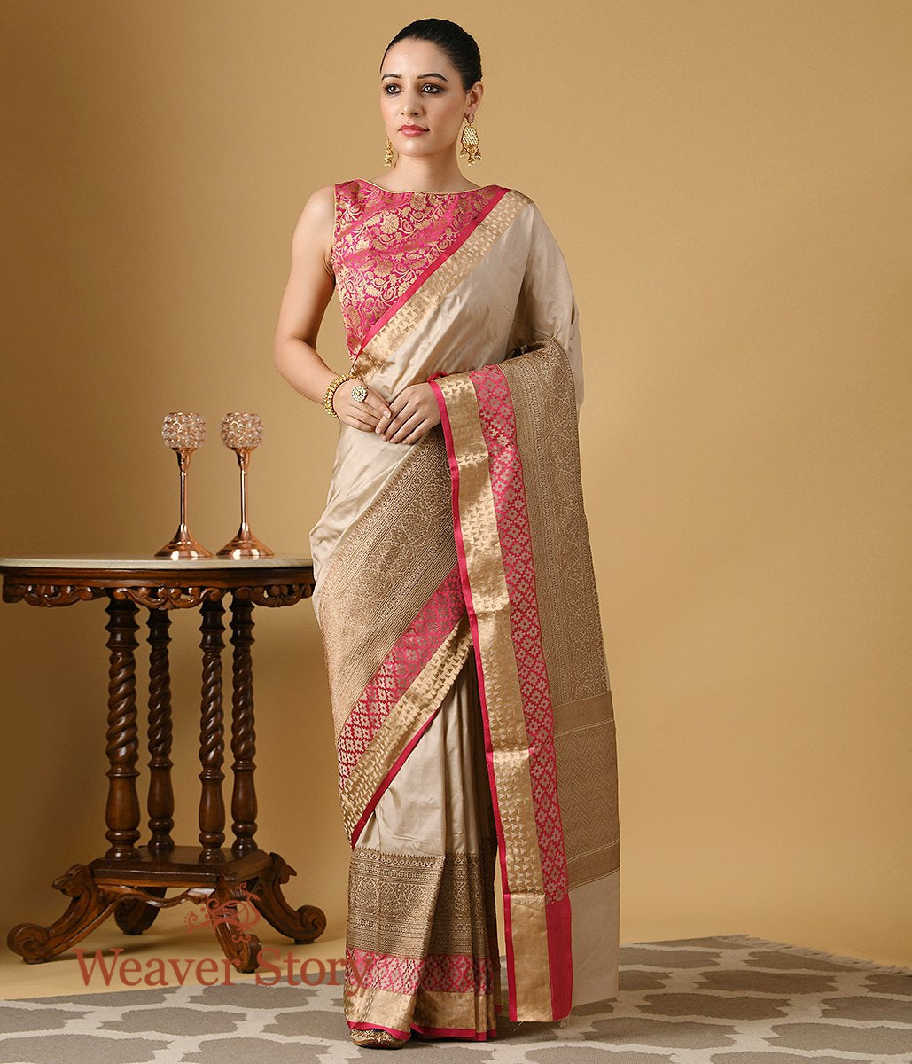 Handwoven Beige Saree with Antique Zari Border