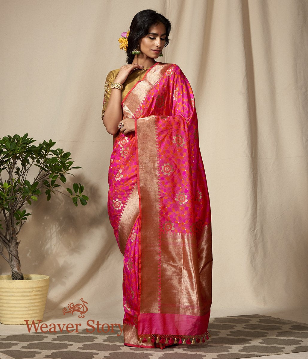 Handwoven Pink and Orange Antique Zari Floral Jaal Saree