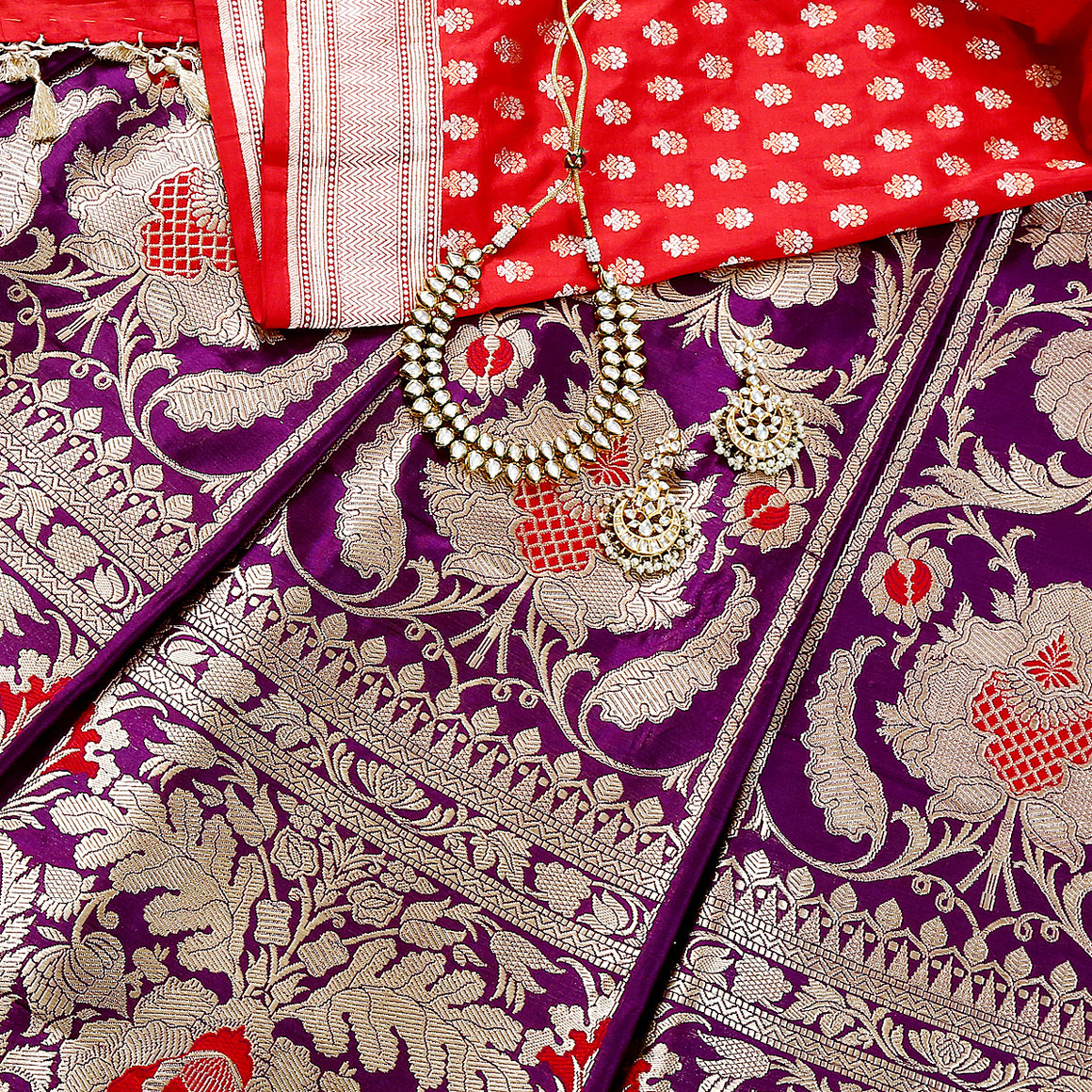Handwoven Banarasi Silk Lehenga in Purple Color