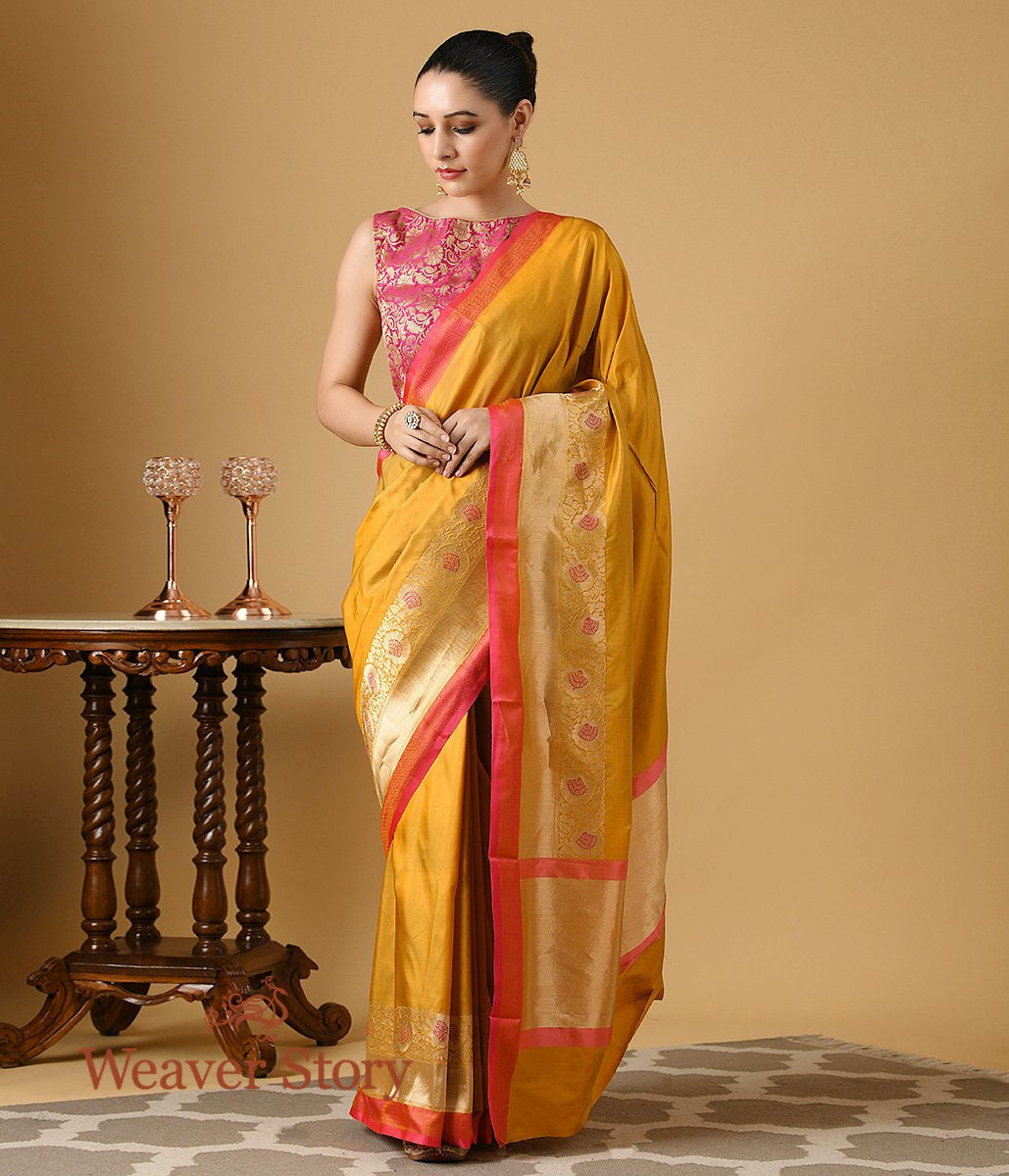 Handwoven Mustard Katan Silk Saree with Gold and Red Border
