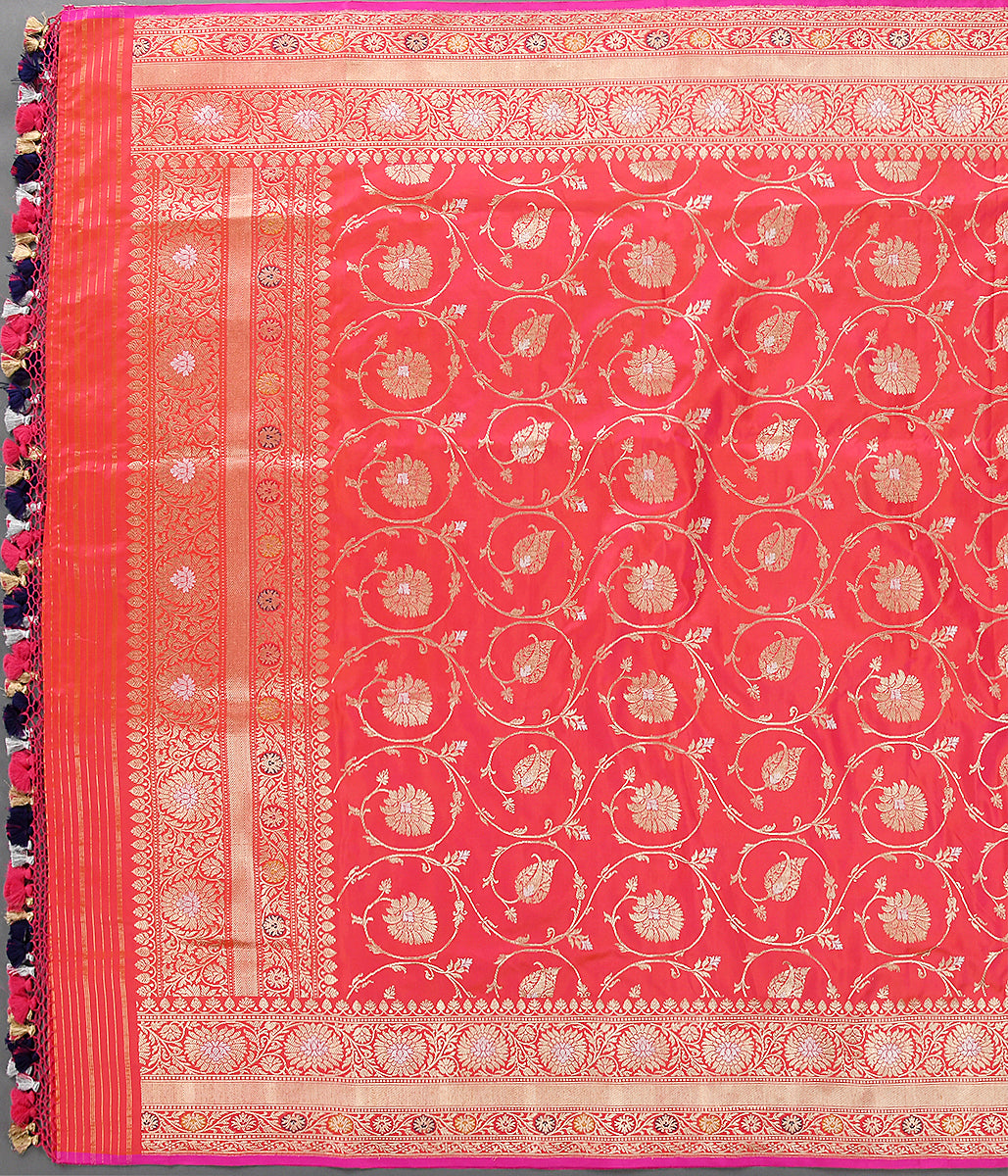 Handwoven Pink and Orange Kadhwa Jangla Dupatta with Sona Rupa Zari