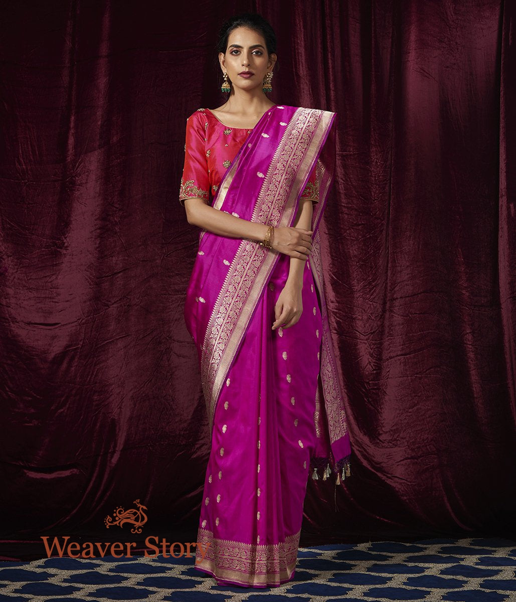Handwoven Purple Katan Silk Saree with Paisleys woven in Gold and Silver Zari