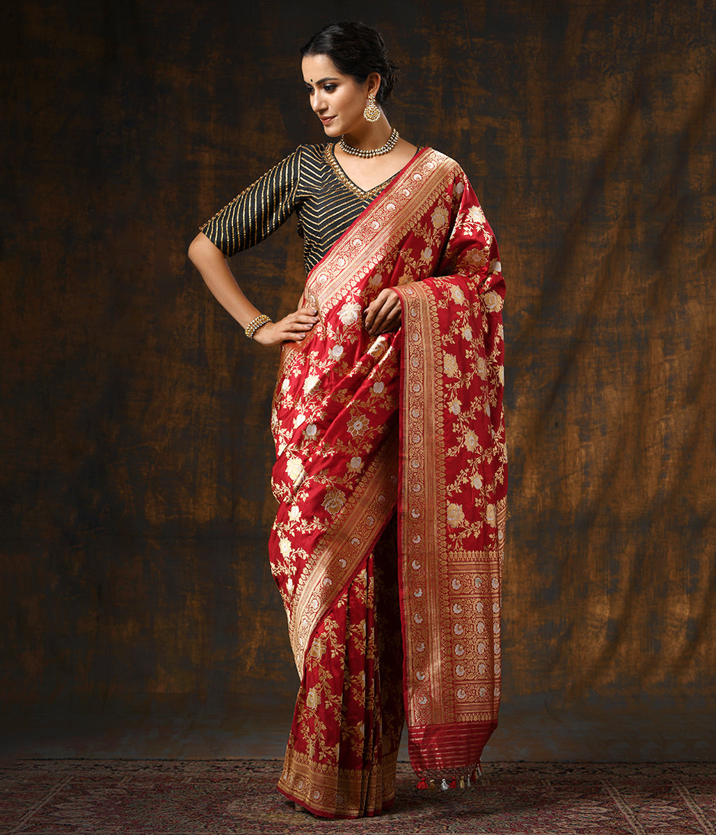 Handwoven Red Sona Rupa Floral Jangla