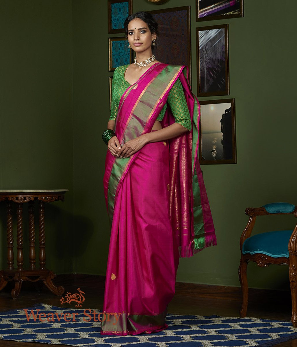 Handwoven Pink Kanjivaram Silk Saree with Zari Booti and Green Border